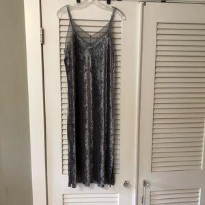 Gray Lace and Velvet Slip Dress